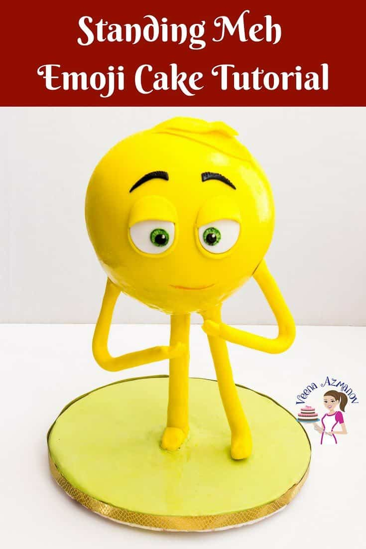 An emoji cake can be a fun cake for any kid, boy or girl at any age. Today, I share how to make an emoji cake tutorial for standing Meh.  If you are new and not into cake structure make him sitting down and if your feeling adventurous, have a go at a standing emoji cake using my detailed instructions #emoji #tutorial #howto #standing #cake #gravity #defying #meh #emojicake