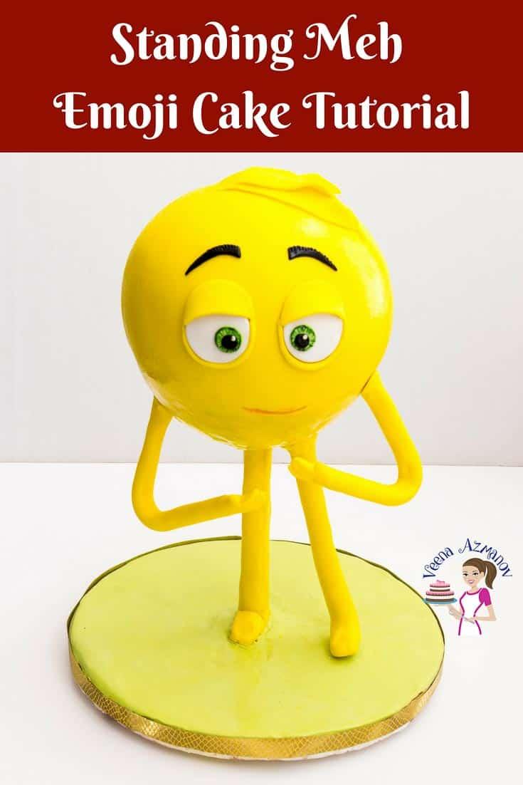 A standing emoji cake.