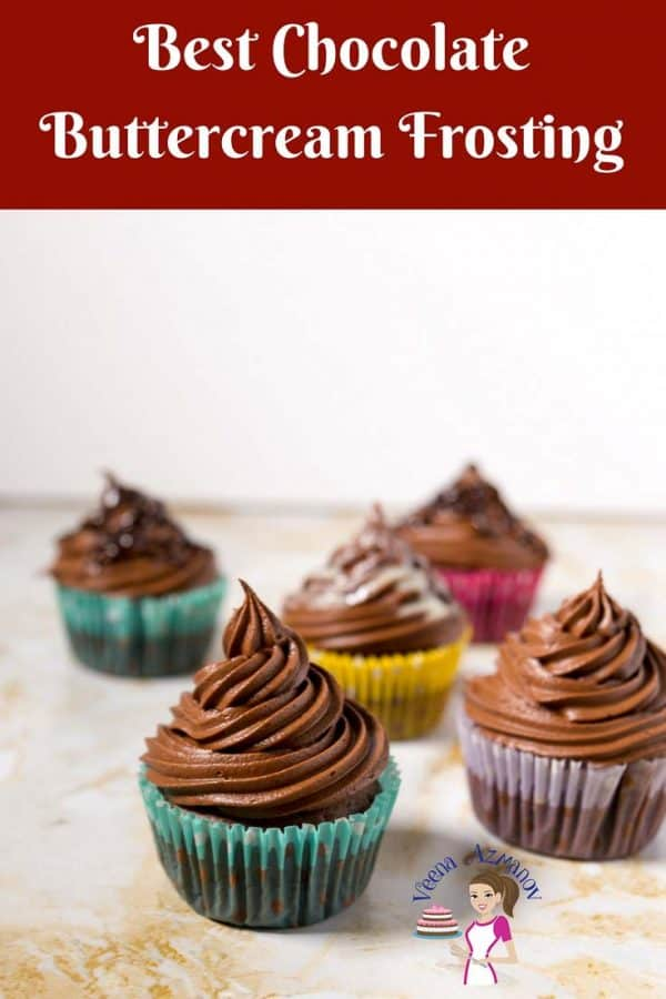 An image optimized for social media share for this step by step video tutorial on how to make the best Chocolate buttercream Frosting Recipe ever.