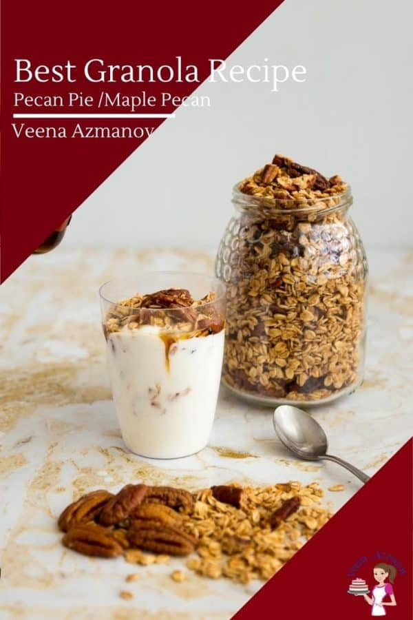 A glass full of yogurt and granola next to a jar full of granola.