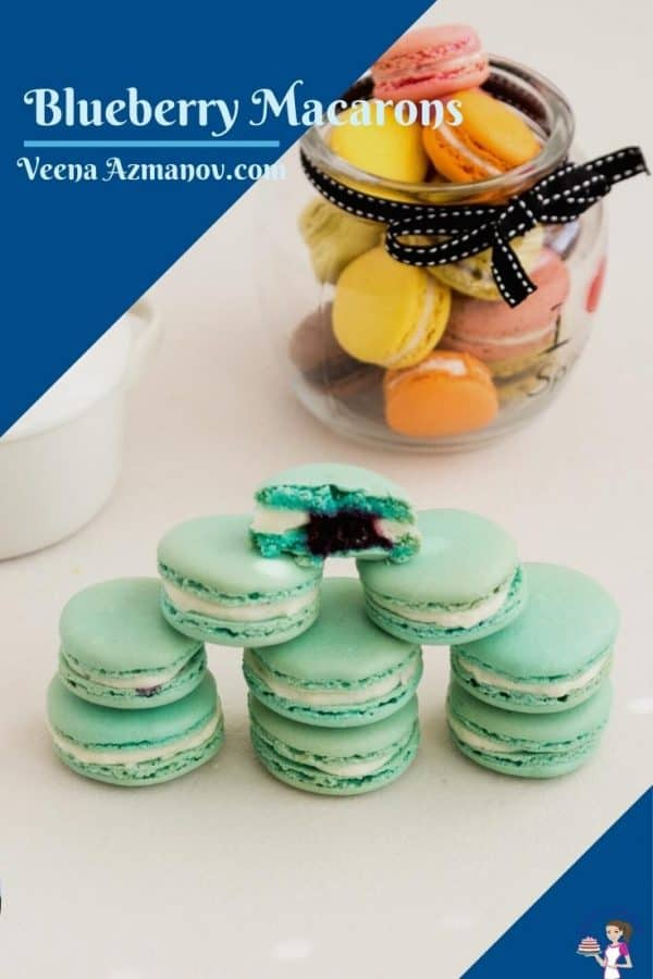 Pinterest image for blueberry macarons
