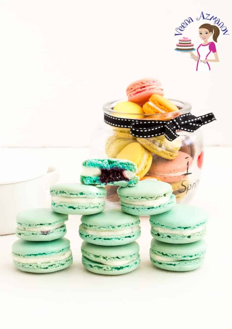 A stack of macarons on the table