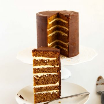 A layer cake with gingerbread spice and chocolate ganache