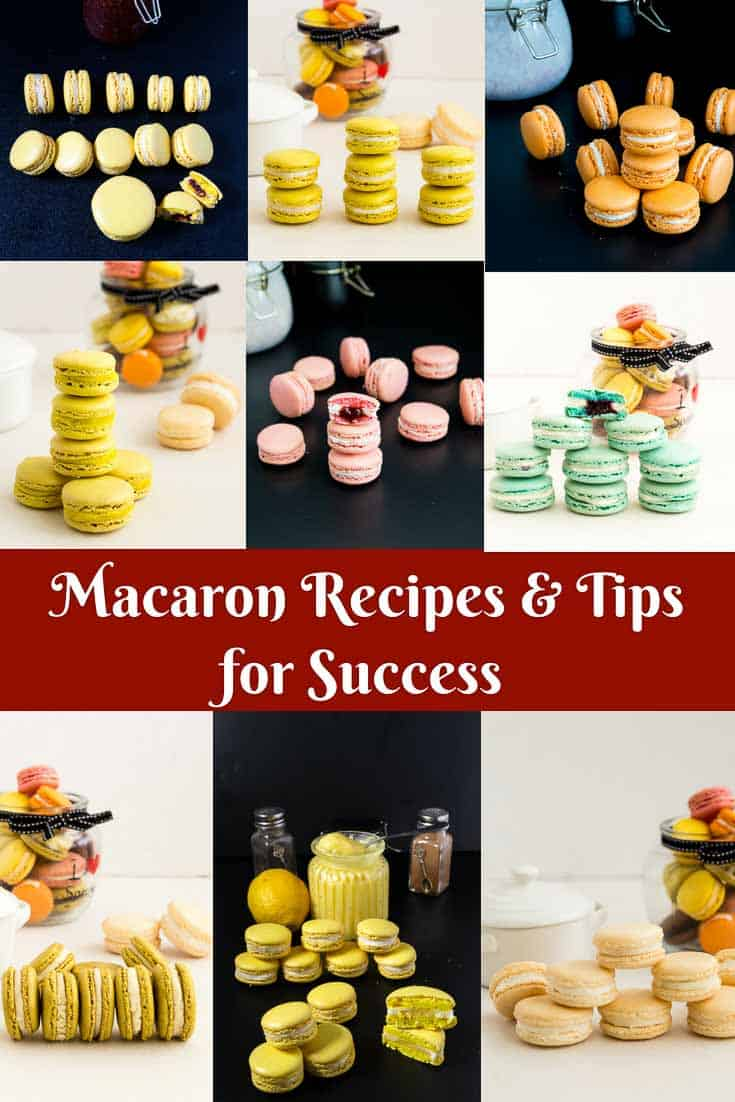 A collage of macaron recipes on the blog Veena Azmanov to share on Social media sharing her no-fail full-proof macaron recipes including 20 tips to make perfect macarons every single time