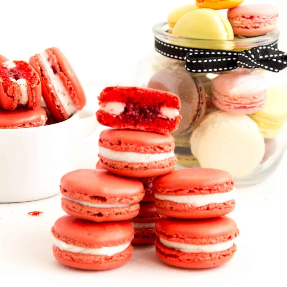 A stack of macarons on a white table