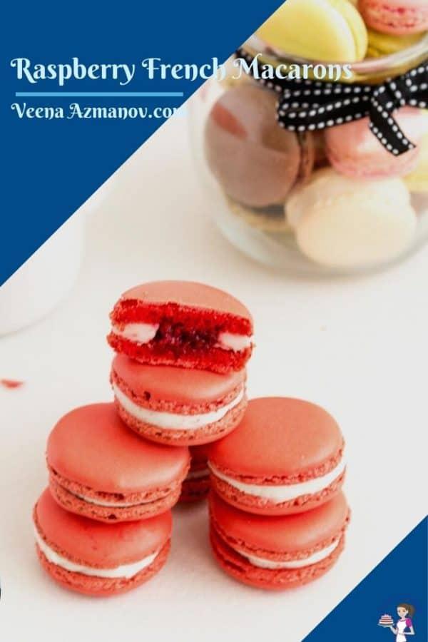 Pinterest Image for Raspberry Macarons