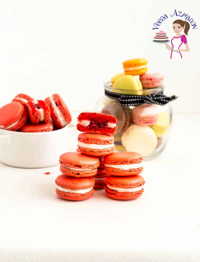 An image optimized for social sharing for these No-fail Macaron recipe for the best Raspberry Macarons with Raspberry Filling and Swiss Meringue Buttercream.