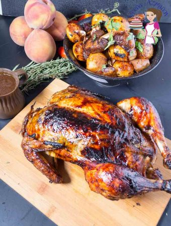 Balsamic Maple Roast Chicken with roast veggies and fruits