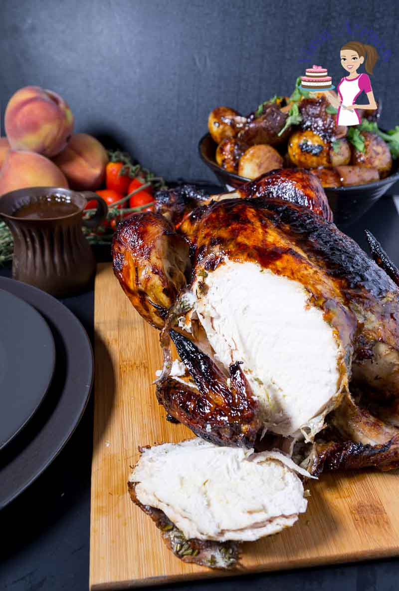 An image optimized for social media share for this balsamic maple roast chicken with roast baby potatoes, apples, peaches and grapes.