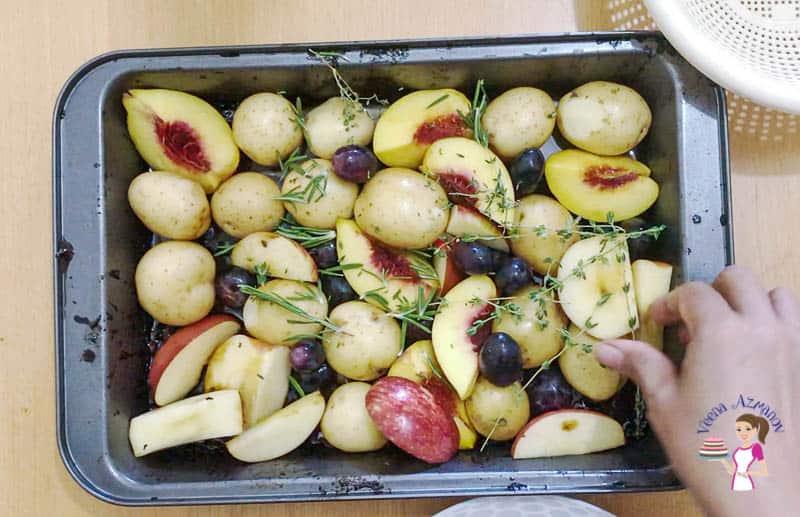 Add the veggies to the roasting pan