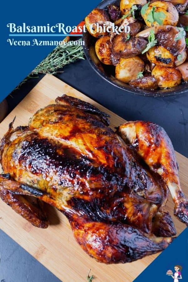 A Pinterest image for roast chicken