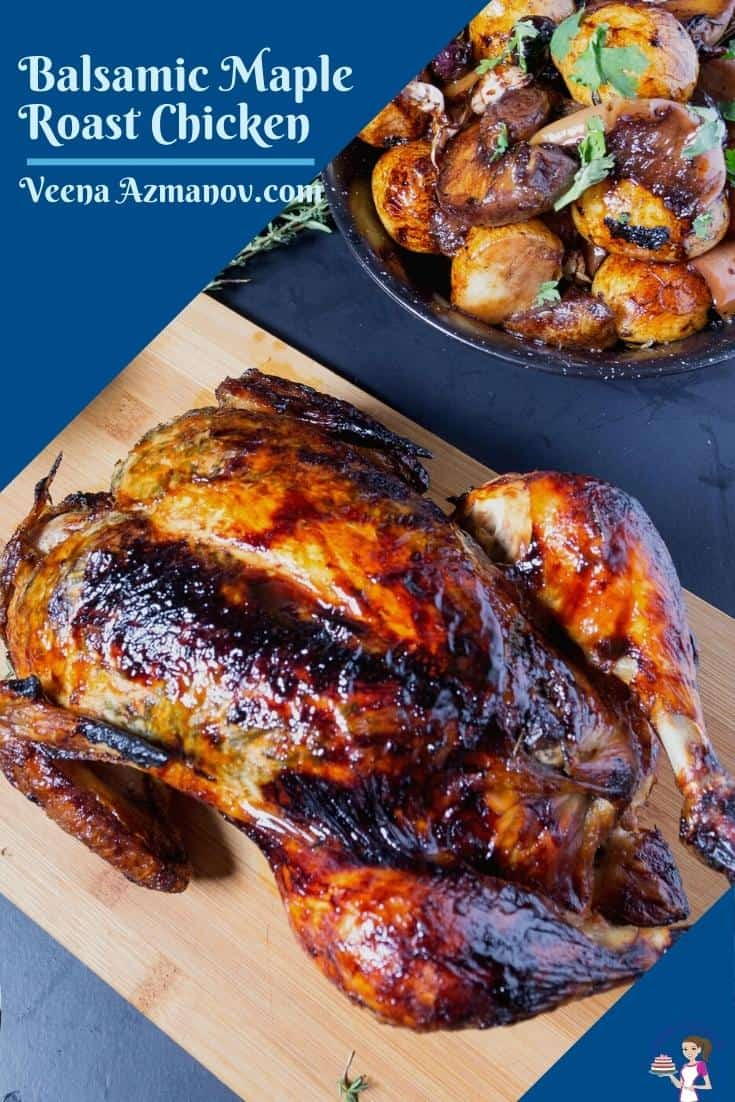 A Pinterest image for Maple roast chicken