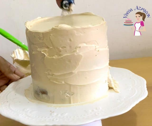 Assembling the apple cake with caramel buttercream Progress Pictures