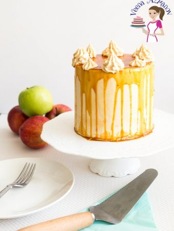 An image optimized for social media share for this caramel apple cake with caramel buttercream and drizzled with caramel sauce.
