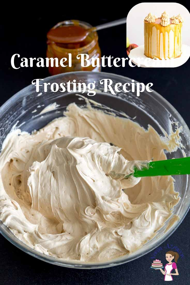 An image optimized for social media share for the best caramel buttercream frosting recipe made with real caramel sauce.