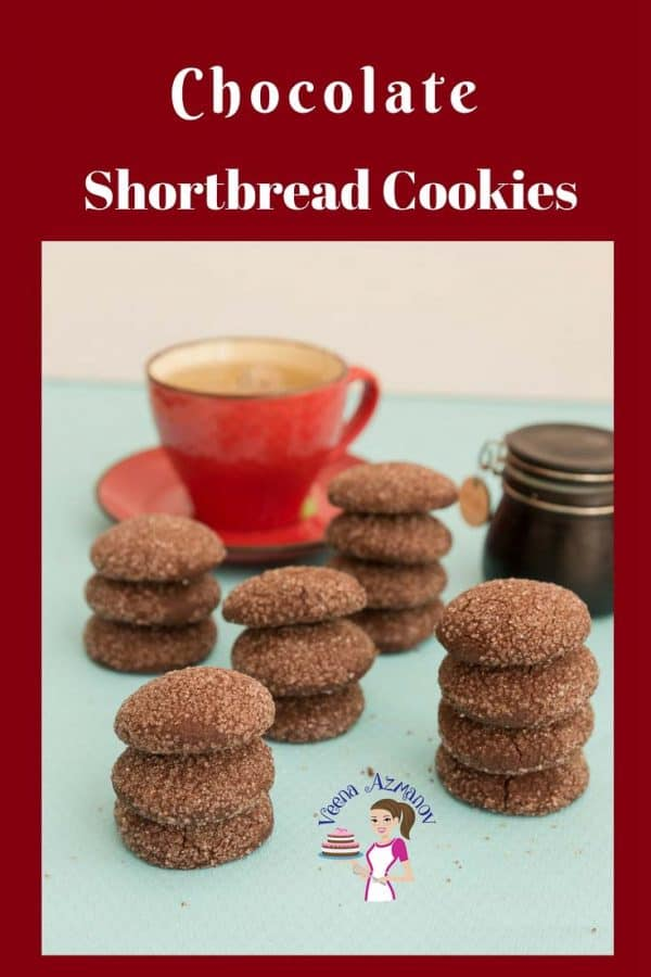 An image optimized for social sharing for these chocolate shortbread cookies made with just six simple ingredients and five minutes to mix. The best shortbread cookies.