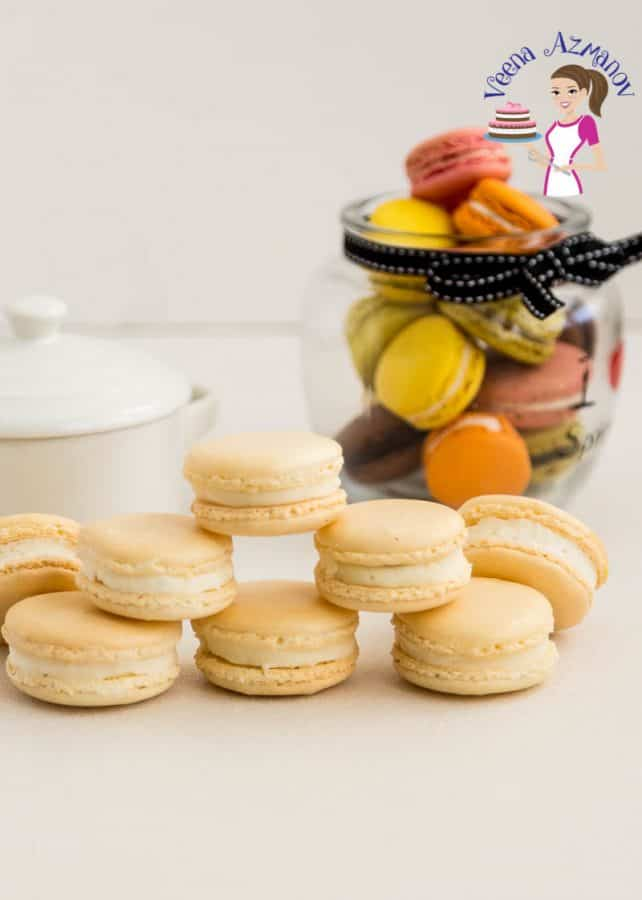 An image optimized for social media share for these Classic Vanilla French Macaron Recipe with my No-fail recipe and step by step video tutorial