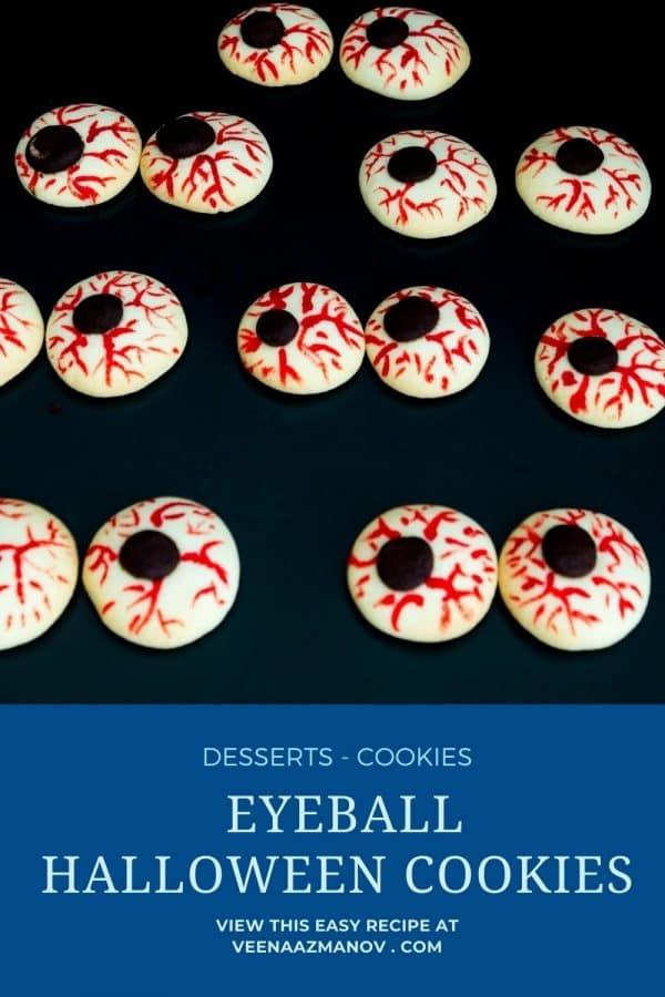 Pinterest image for halloween eyeball cookies.