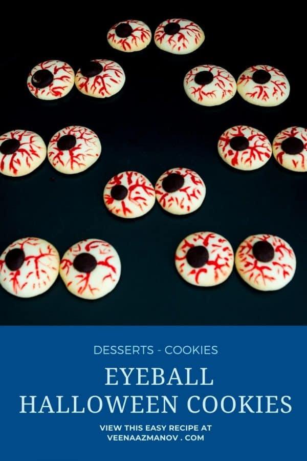 Pinterest image for eyeball cookies.