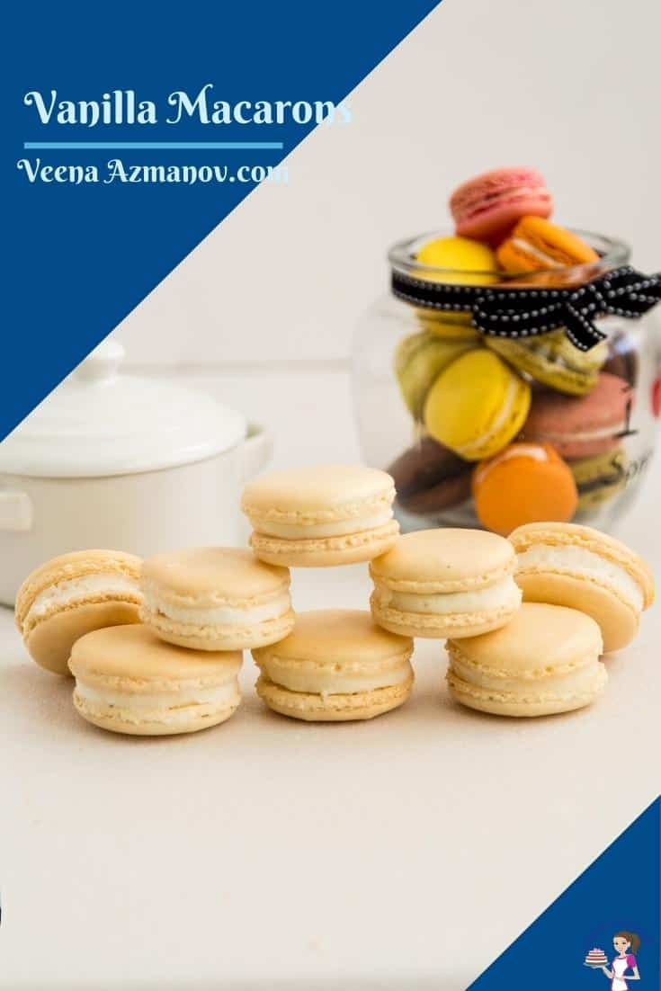 These classic French macarons are crisp almond shells filled with jam and Swiss meringue buttercream. They make perfect tea time treats as well as impressive gifts to family and friends during the holiday season. Using my no-fail recipe this is one you are going to love #macaron #French #recipe #nofail #best #frenchmacarons #failproofmacarons #howtomacarons #stepbystepmacarons via @Veenaazmanov