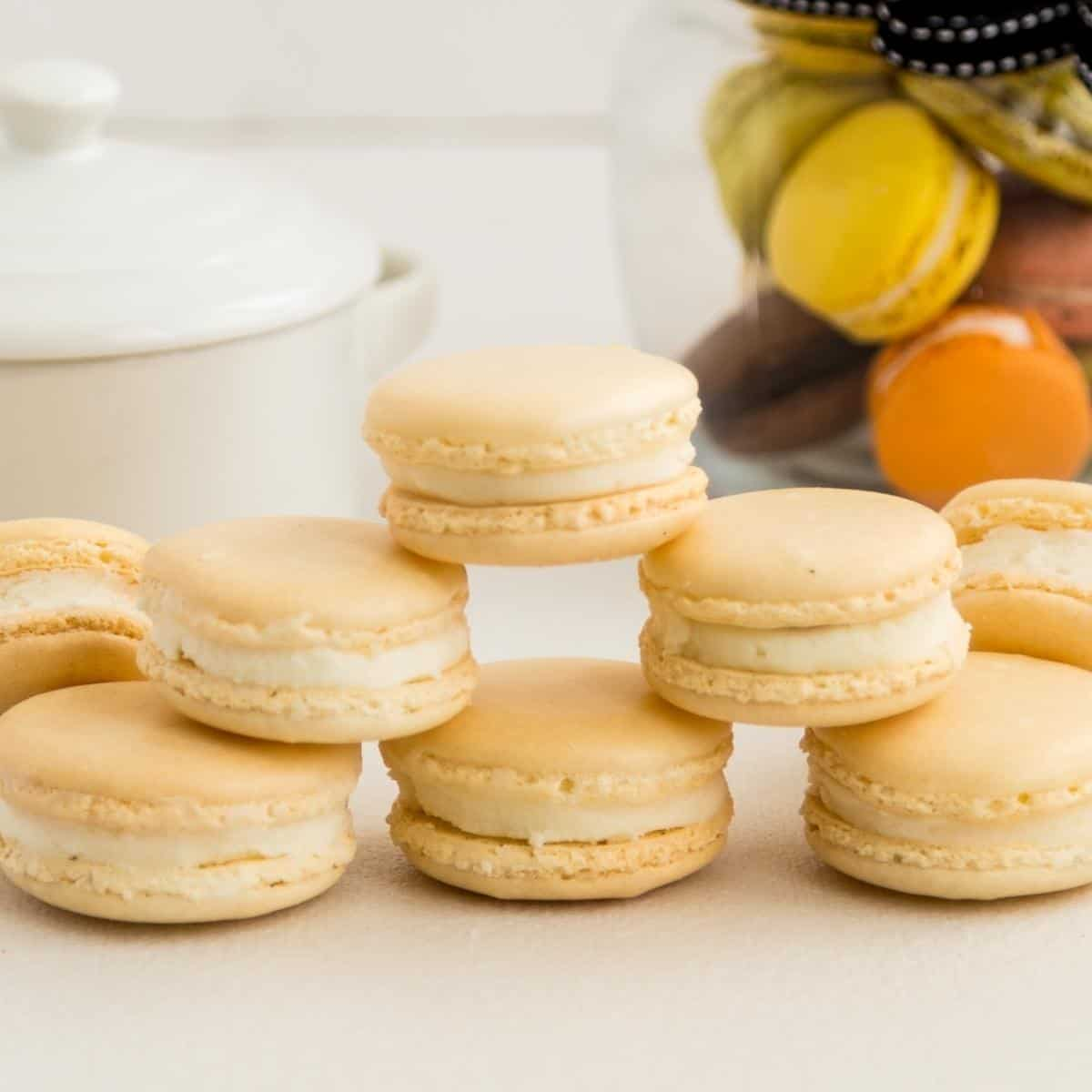 Macarons on the table with buttercream