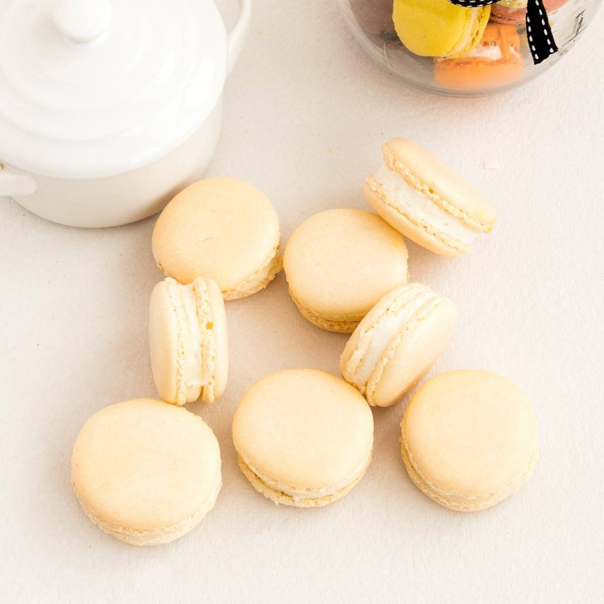 French macarons on a white table