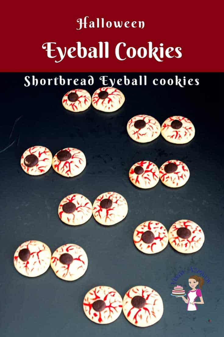 An image optimized for social share for these Halloween eyeball cookies that get done in 20 minutes or less with no chilling time necessary in-between steps.