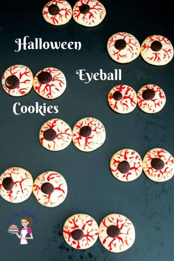 Halloween eyeball cookies on a table.