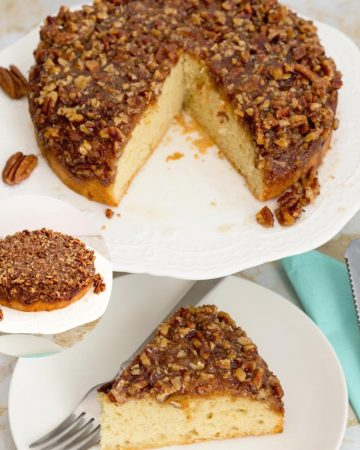A slice of an upside down pecan cake on a plate.