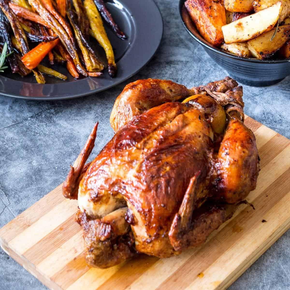 a chicken roasted until golden and crisp