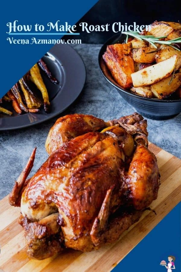 A Pinterest image for roasted chicken