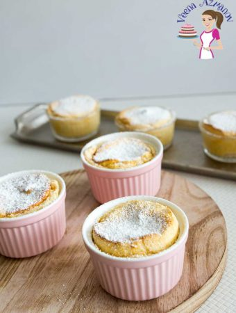 An image optimized for social media share for this light and fluffy, custardy Pumpkin Souffle for dessert