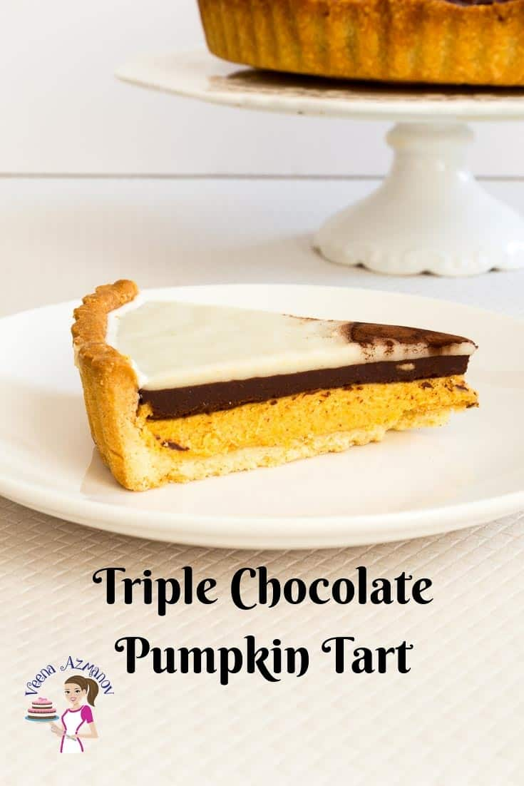An image optimized for social media share for this Triple chocolate pumpkin tart recipe a perfect fall or Thanksgiving dessert.