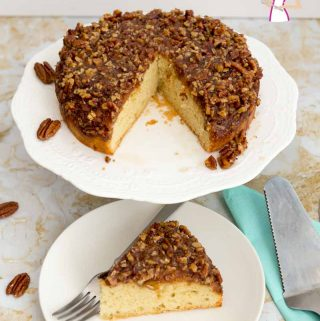 An image optimized for social media share for this step by step video for the best Upside Down Pecan Pie Cake recipe, perfect for Rosh Hashanah or Thanksgiving.