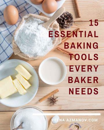 The title of a post about 15 baking tools that every baker needs.