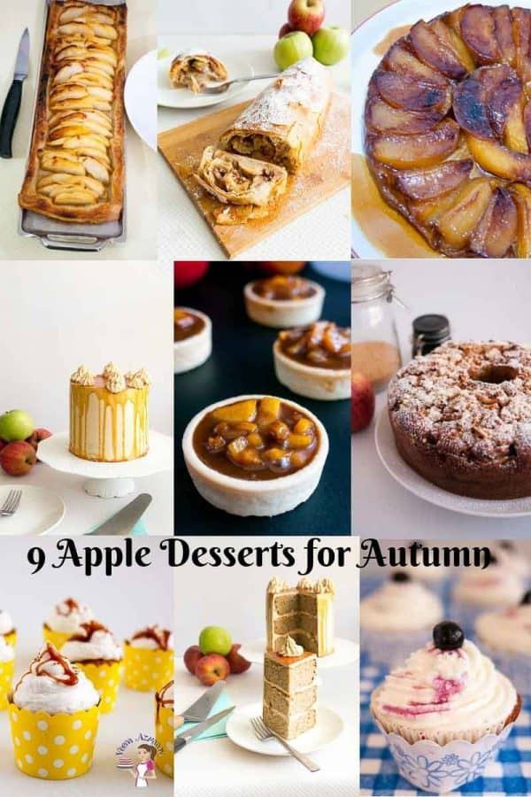 A collage of different types of apple-based desserts.