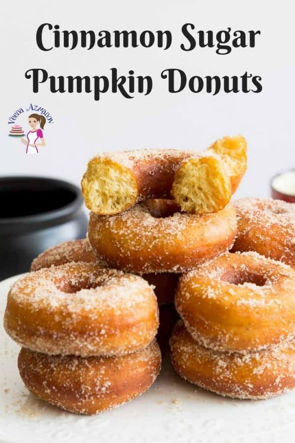 An image optimized for social media share for this step by step tutorial for these cinnamon sugar pumpkin donuts aka pumpkin doughnuts