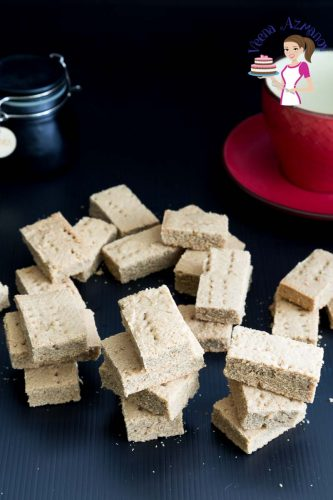 A stack of shortbread bars on a table.
