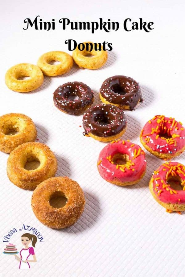 Make easy mini pumpkin cake donuts with cinnamon sugar and chocolate glaze with this step by step video tutorial