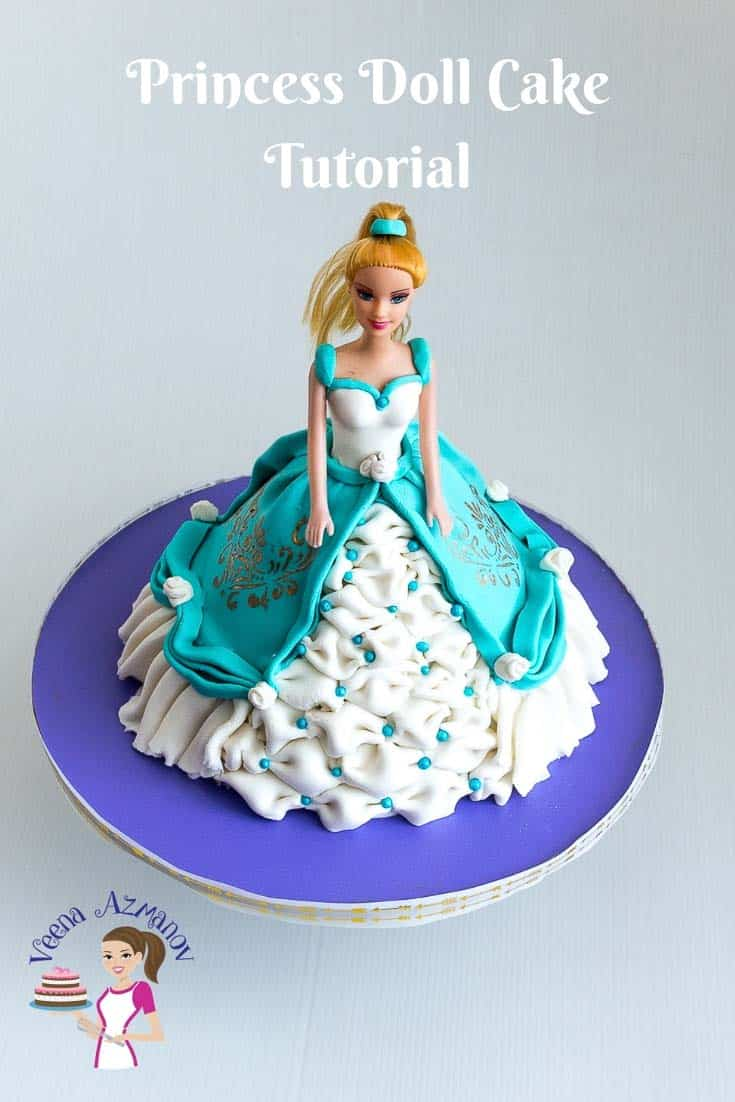 A simple, easy and elegant princess doll cake with step by step video tutorial with recipes and list of tools.