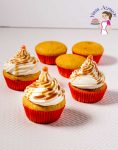 An image optimized for social media share for these easy pumpkin cupcakes with cream cheese frosting that melts in the mouth made with homemade pumpkin puree.