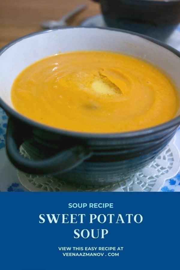 Pinterest image for sweet potato soup.