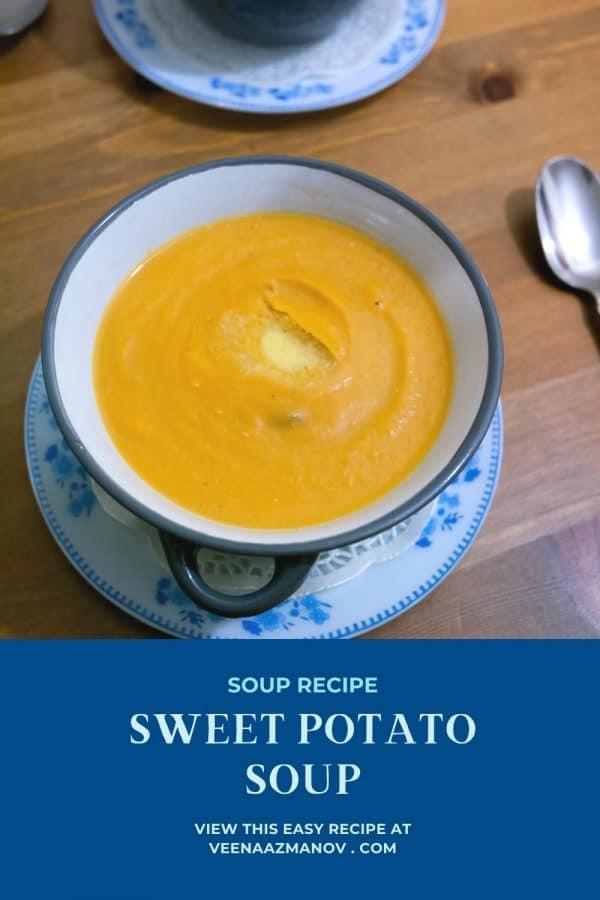 Pinterest image for roasted sweet potato soup.