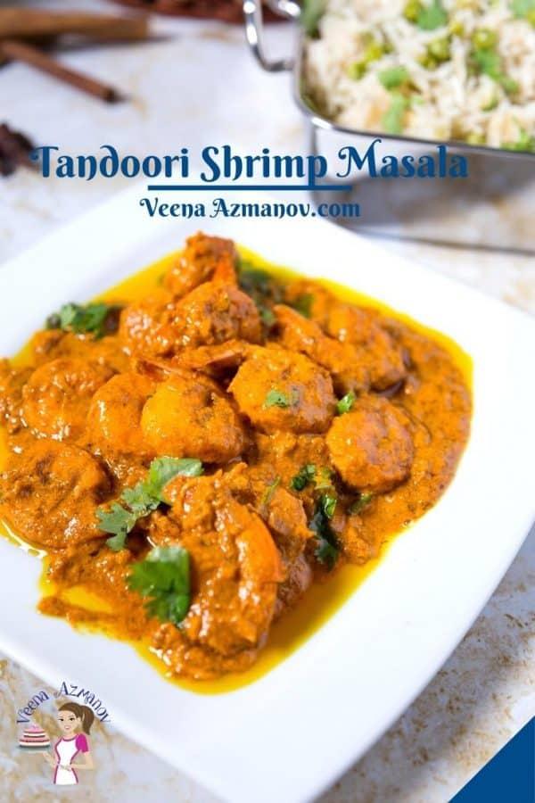Pinterest image for tandoori masala shrimps prawns.
