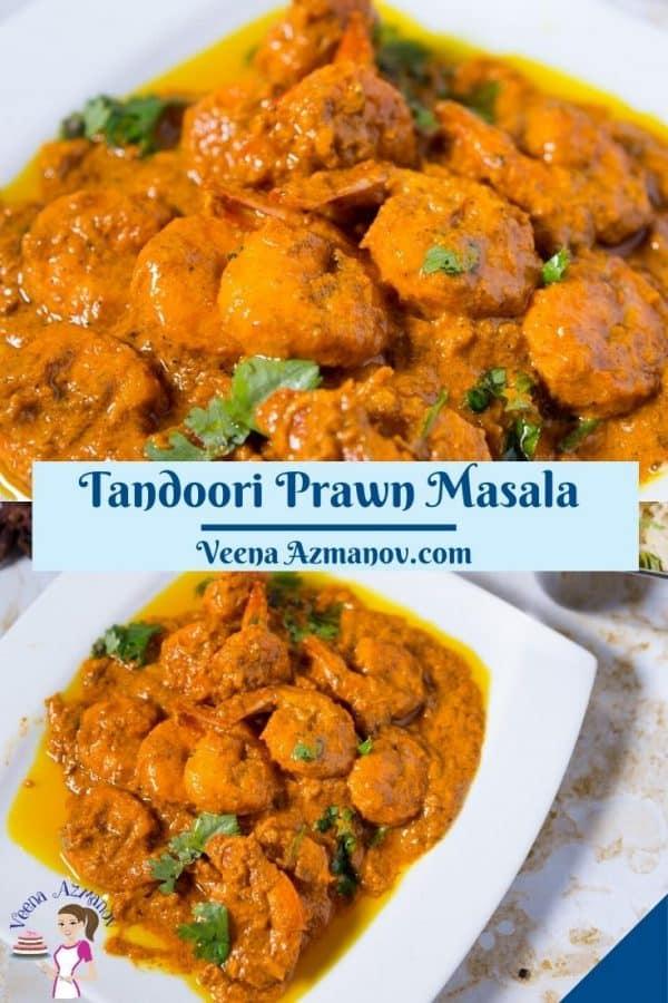 Pinterest image for tandoori shrimp prawns.