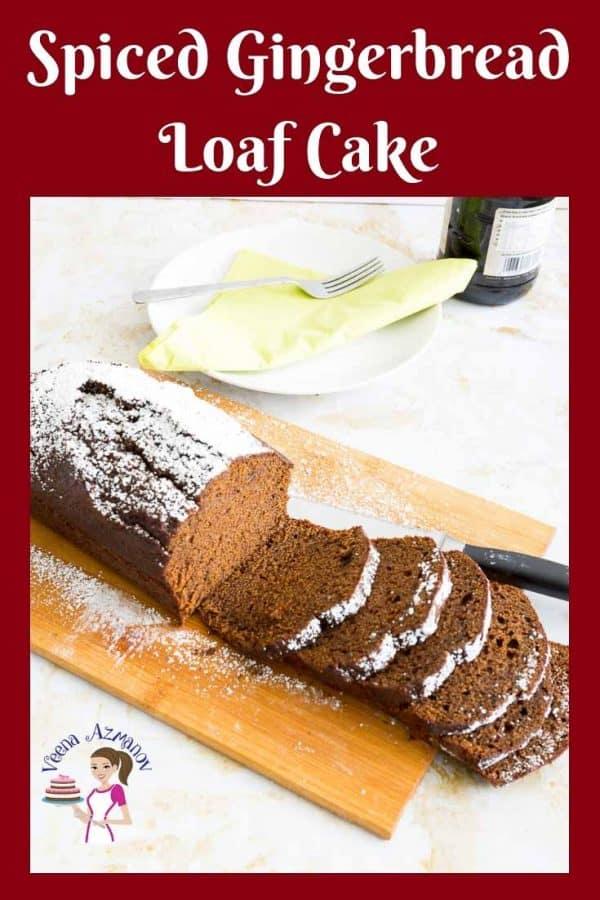 Sliced gingerbread loaf cake.