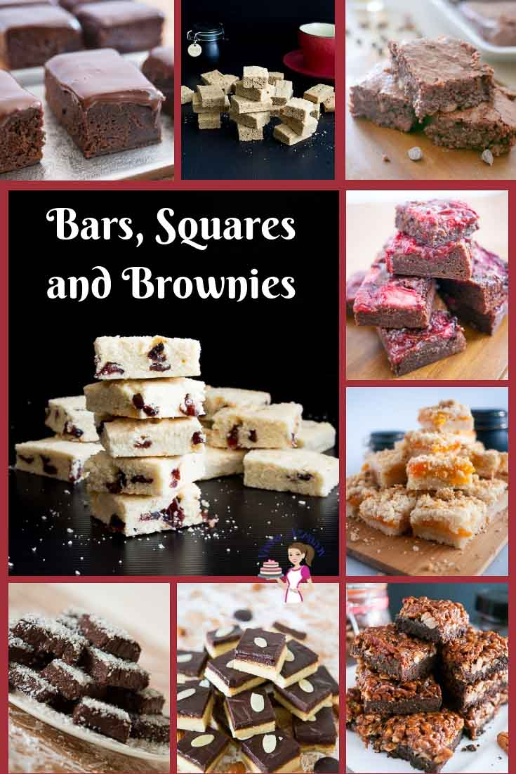 Simple, easy bars, squares brownies and shortbread to try the whole year round. Chocolate, to marzipan or cranberries.