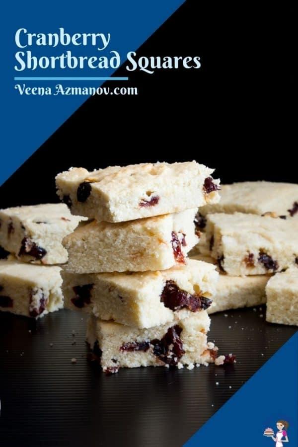 Pinterest image for cranberry shortbread squares