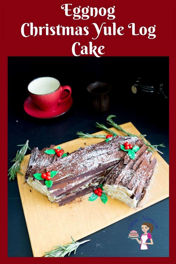 A step by step video recipe for Eggnog Yule log cake aka Bouche de noel Christmas Cake.