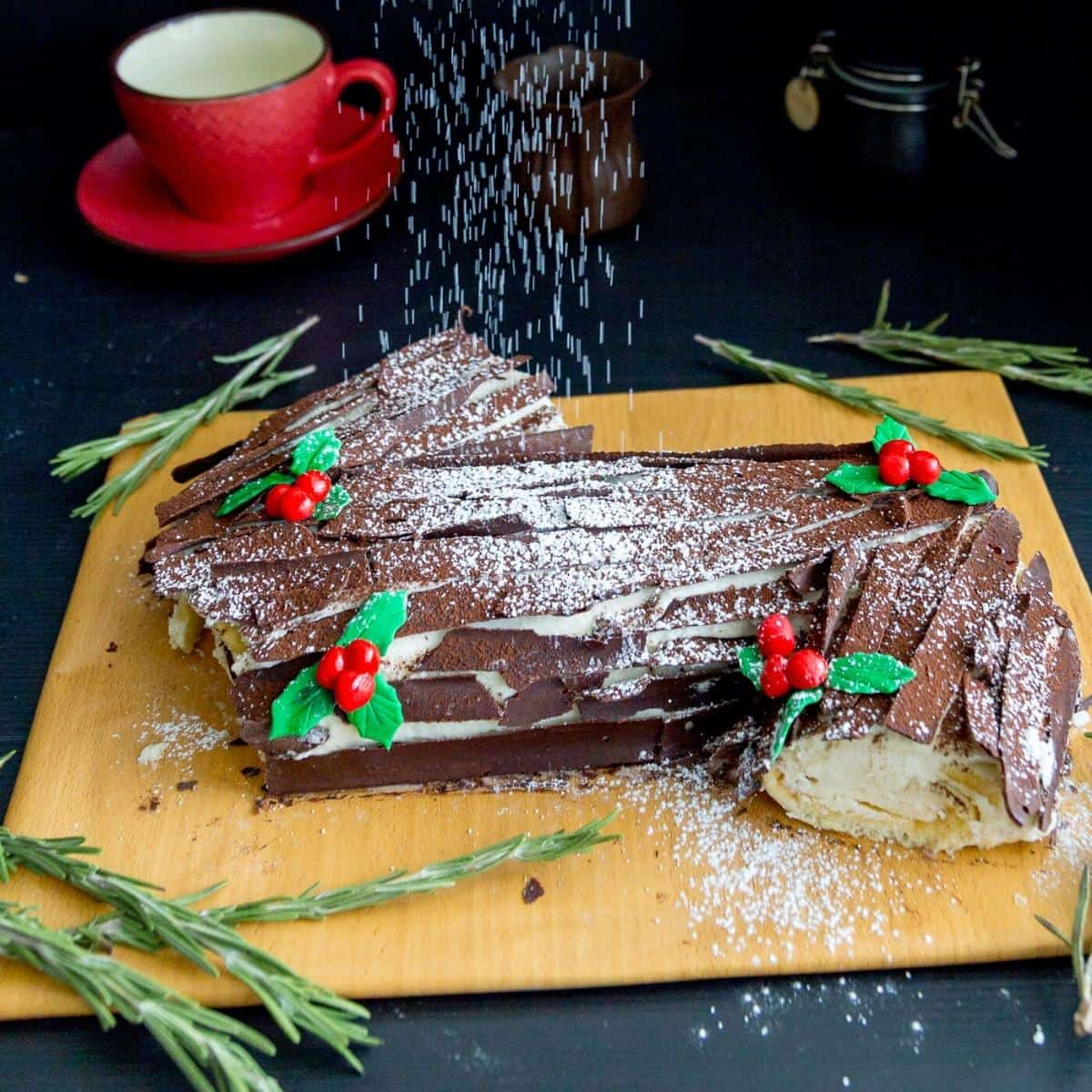 Yule log cake on a cake board